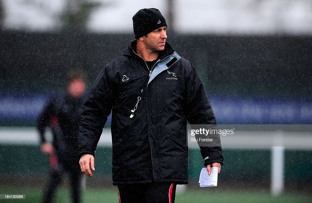 Newcastle Falcons head coach Peter Russell directs training during Falcons training at Druid Park on March 20, 2013 in Newcastle upon Tyne, England.