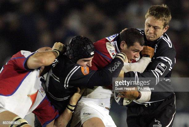 Newcastle Falcons' Jonny Wilkinson tackles Bristol Rugby's Dan Wardsmith during the Guinness Premiership match at Kingston Park Newcastle