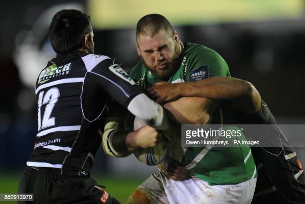 Newcastle Falcon's Kieran Brooks is tackled by Brive's Thomas Laranjeria during the Amlin Challenge Cup Pool Three match at Kingston Park Newcastle
