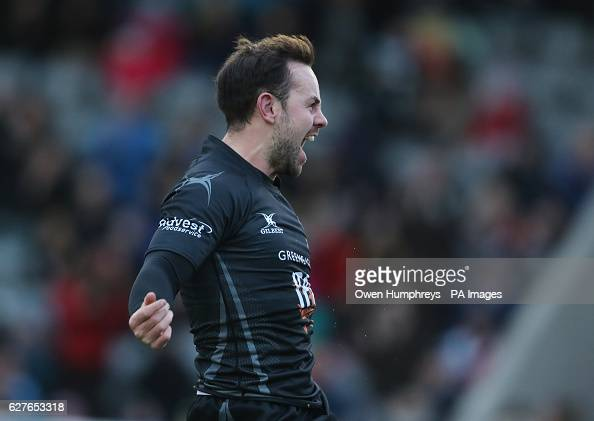Newcastle Falcons Michael Young celebrates his try during the Aviva Premiership match at Kingston Park Newcastle