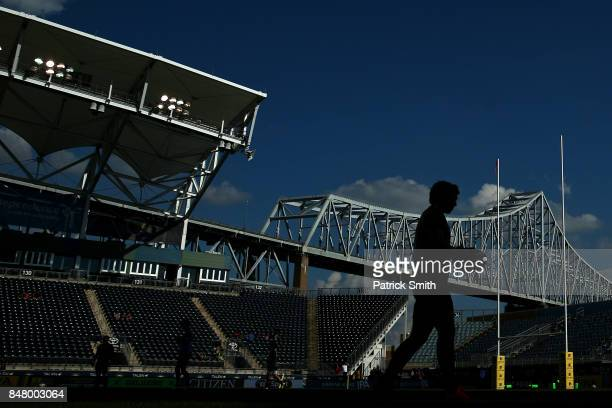 Newcastle Falcons players warm up before playing against the Saracens during a Aviva Premiership match between the Newcastle Falcons and the Saracens...