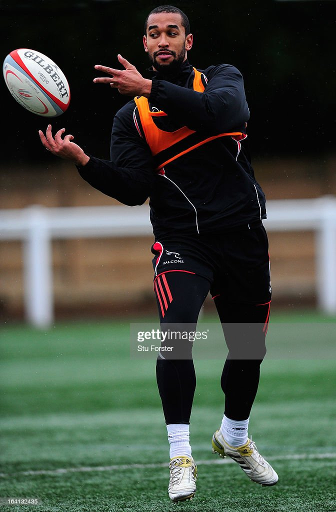 Newcastle Falcons wing Noah Cato in action during Falcons training at Druid Park on March 20, 2013 in Newcastle upon Tyne, England.