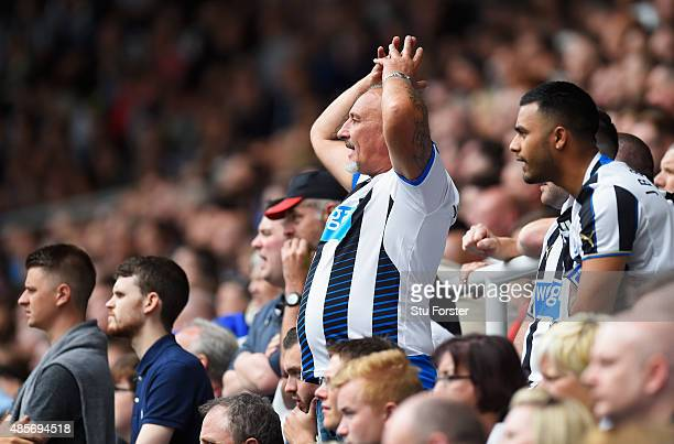 Newcastle fan reacts during the Barclays Premier League match between Newcastle United and Arsenal at St James' Park on August 29 2015 in Newcastle...