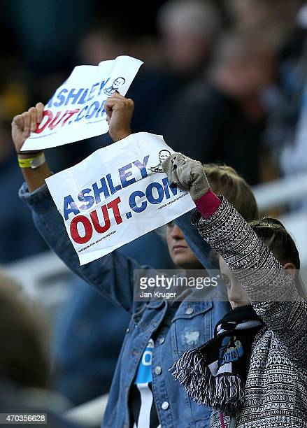 Newcastle fans protest against Mike Ashley Newcastle Owner during the Barclays Premier League match between Newcastle United and Tottenham Hotspur at...