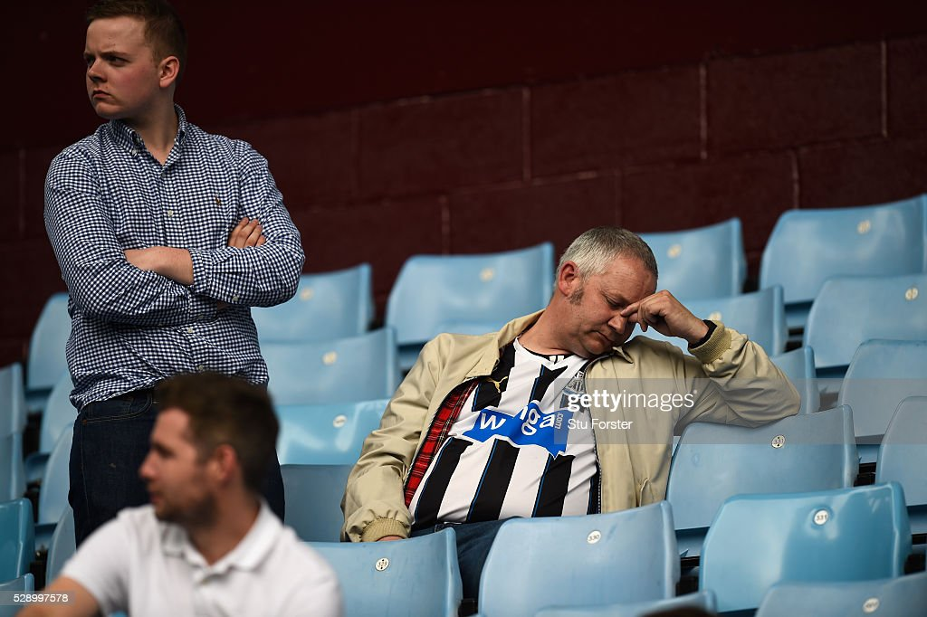 Newcastle fans react after the Barclays Premier League match between Aston Villa and Newcastle United at Villa Park on May 7 2016 in Birmingham...