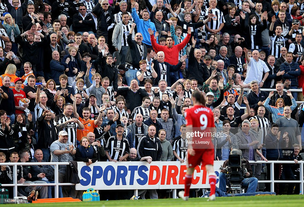 Newcastle fans react as Andy Carroll of Liverpool walks off after being substituted during the Barclays Premier League match between Newcastle United and Liverpool at Sports Direct Arena on April 1, 2012 in Newcastle upon Tyne, England.