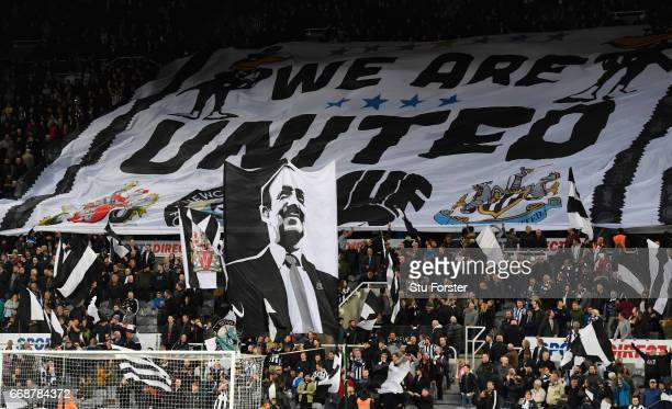 Newcastle fans show off their flags and banners before the Sky Bet Championship match between Newcastle United and Leeds United at St James' Park on...