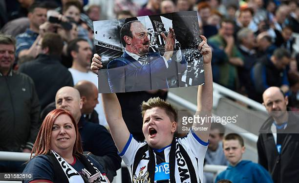 Newcastle fans show their appreciation of manager Rafa Benitez during the Premier League match between Newcastle United and Tottenham Hotspur at St...