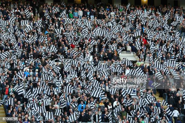Newcastle fans show their support prior to the Barclays Premier League match between Newcastle United and Middlesbrough at St James' Park on May 11...
