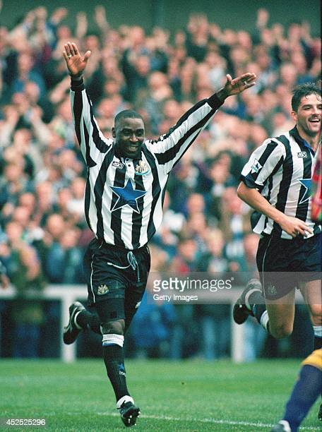Newcastle forward Andy Cole celebrates after scoring in the FA Premiership match between Newcastle United and Sheffield Wednesday at St James' Park...