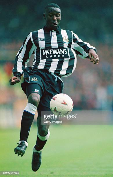 Newcastle forward Andy Cole in action during the FA Premier League match between Newcastle United and Blackburn Rovers at St James' Park on August 29...