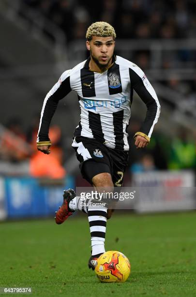Newcastle fullback Deandre Yedlin in action during the Sky Bet Championship match between Newcastle United and Aston Villa at St James' Park on...