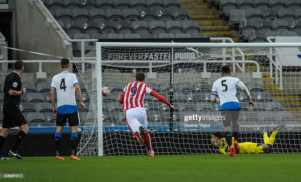 Newcastle goalkeeper Karl Darlow looks as the ball hits the back of the net during the Barclays Premier League U21 match between Newcastle United and Stoke City at St.James' Park on February 8, 2016, in Newcastle upon Tyne, England.