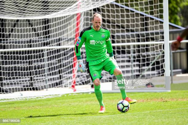 Newcastle Goalkeeper Matz Sels looks to receive the ball during the Premier League 2 Match between Newcastle United and Fulham at Whitley Park on...