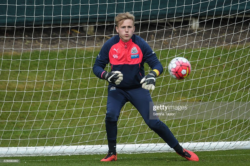 Newcastle goalkeeper Paul Woolston prepares to catch the ball during the Newcastle United Training session at The Newcastle United Training Centre on May 6, 2016, in Newcastle upon Tyne, England.