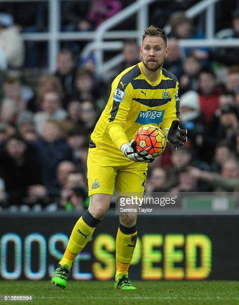 Newcastle goalkeeper Rob Elliot holds the ball in his hands during the Premier League Match between Newcastle United and AFC Bournemouth at StJames'...