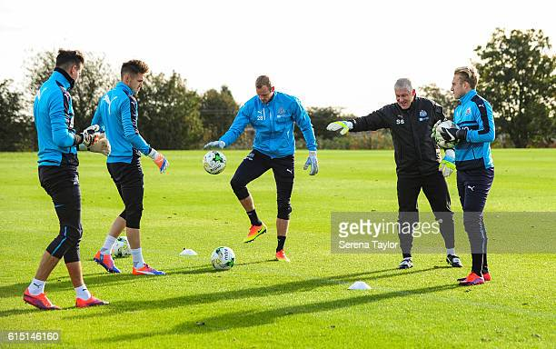 Newcastle goalkeepers seen LR Karl Darlow Freddie Woodman Matz Sels and Paul Woolston train together under the watchful eye of Newcastle Unitedâs...