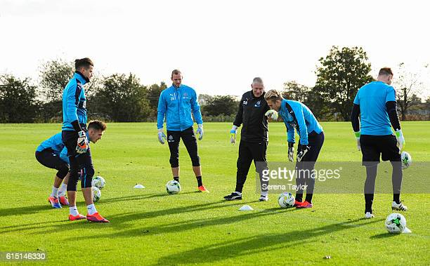 Newcastle goalkeepers seen LR Karl Darlow Freddie Woodman Matz Sels Paul Woolston and Rob Elliot train together under the watchful eye of Newcastle...