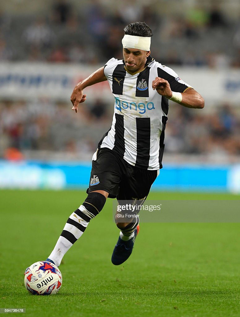 Newcastle goalscorer Ayoze Perez in action during the EFL Cup Round Two match between Newcastle United and Cheltenham Town at St. James Park on August 23, 2016 in Newcastle upon Tyne, England.