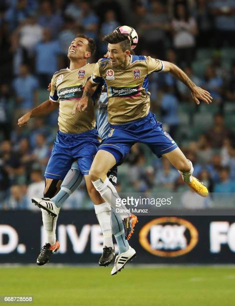 Newcastle Jets Benjamin Kantarovski and Jason Hoffman during the round 27 ALeague match between Sydney FC and the Newcastle Jets at Allianz Stadium...