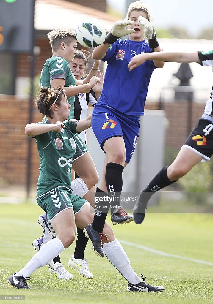 Newcastle Jets goal keeper Eliza Campbell looks to defuse a Canberra corner during the round eight W-League match between Canberra United and the Newcastle Jets at Deakin Football Stadium on December 8, 2012 in Canberra, Australia.