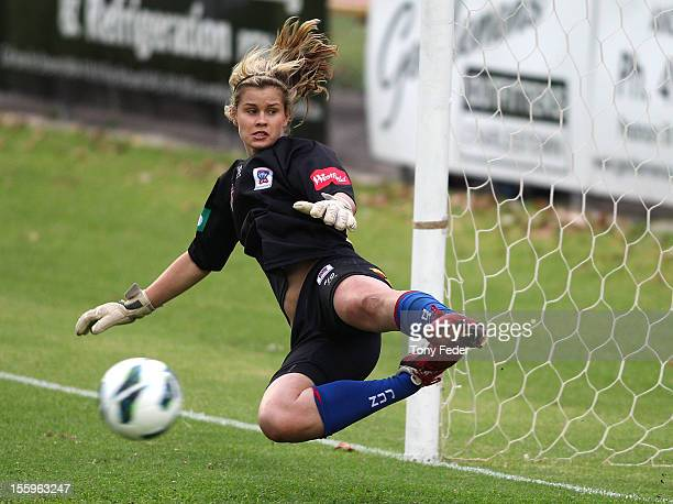 Newcastle Jets goalkeeper Eliza Campbell fails to stop a penalty during the round four WLeague match between the Newcastle Jets and the Perth Glory...