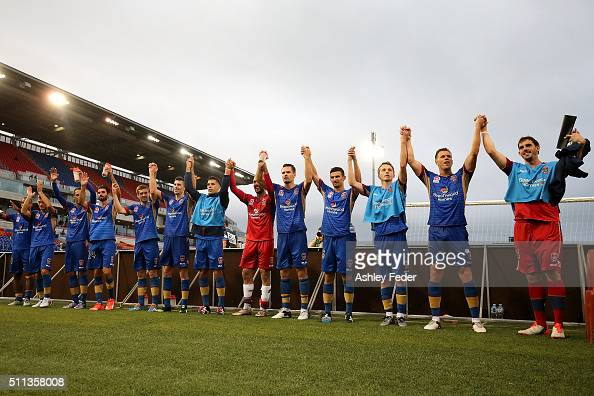 Newcastle Jets players celebrate the win during the round 20 ALeague match between the Newcastle Jets and Wellington Phoenix at Hunter Stadium on...