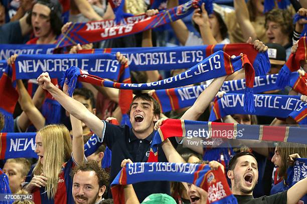 Newcastle Jets supporter during the round 26 ALeague match between the Newcastle Jets and the Sydney FC at Hunter Stadium on April 17 2015 in...