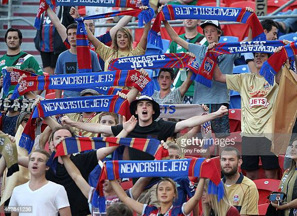 newcastle Jets supporters during the round 16 ALeague match between the Newcastle Jets and Brisbane Roar at Hunter Stadium on February 6 2015 in...