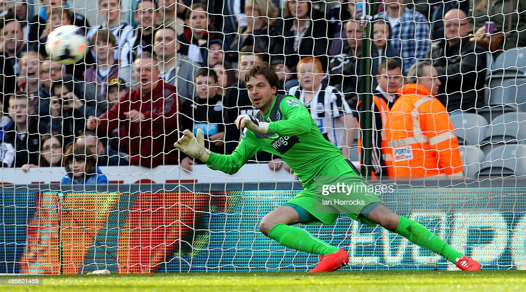 Newcastle keeper <a gi-track='captionPersonalityLinkClicked' href=/galleries/search?phrase=Tim+Krul&family=editorial&specificpeople=618004 ng-click='$event.stopPropagation()'>Tim Krul</a> is sent the wrong way by a <a gi-track='captionPersonalityLinkClicked' href=/galleries/search?phrase=Wilfried+Bony&family=editorial&specificpeople=4231248 ng-click='$event.stopPropagation()'>Wilfried Bony</a> penalty that won the game for Swansea City during the Barclays Premier League match between Newcastle United and Swansea City at St James' Park on April 19, 2014 in Newcastle upon Tyne, England.