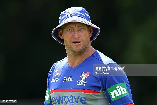 Newcastle Knights coach Nathan Brown during a Newcastle Knights NRL preseason training session at Hunter Stadium on February 10 2016 in Newcastle...