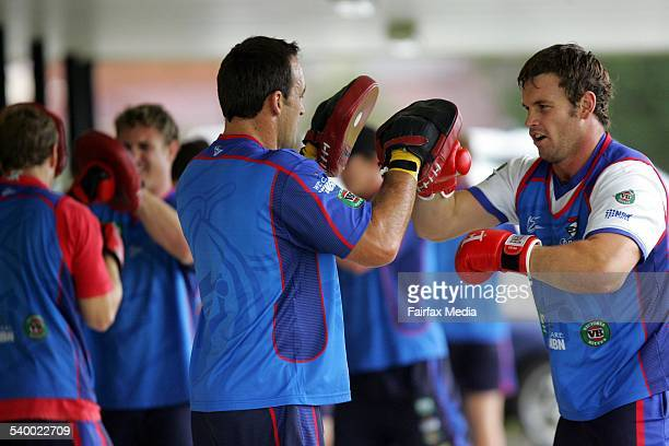 Newcastle Knights players Craig Smith and Josh Perry during team training knights at Dudley Oval 17 May 2005 NCH SPORT Picture by DARREN PATEMAN