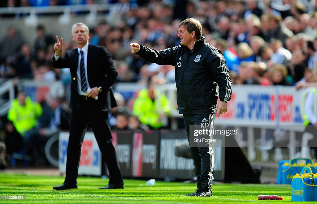 Newcastle manager <a gi-track='captionPersonalityLinkClicked' href=/galleries/search?phrase=Alan+Pardew&family=editorial&specificpeople=171147 ng-click='$event.stopPropagation()'>Alan Pardew</a> (l) and Liverpool manager <a gi-track='captionPersonalityLinkClicked' href=/galleries/search?phrase=Kenny+Dalglish&family=editorial&specificpeople=221580 ng-click='$event.stopPropagation()'>Kenny Dalglish</a> react during the Barclays Premier League match between Newcastle United and Liverpool at Sports Direct Arena on April 1, 2012 in Newcastle upon Tyne, England.