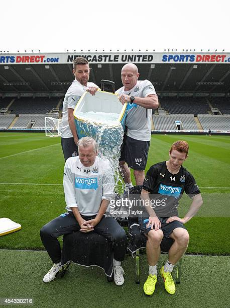 Newcastle Manager Alan Pardew participates in the ASL Ice Bucket Challenge with help from Masseurs Mick Holland and Wayne Farrage also seen is Jack...