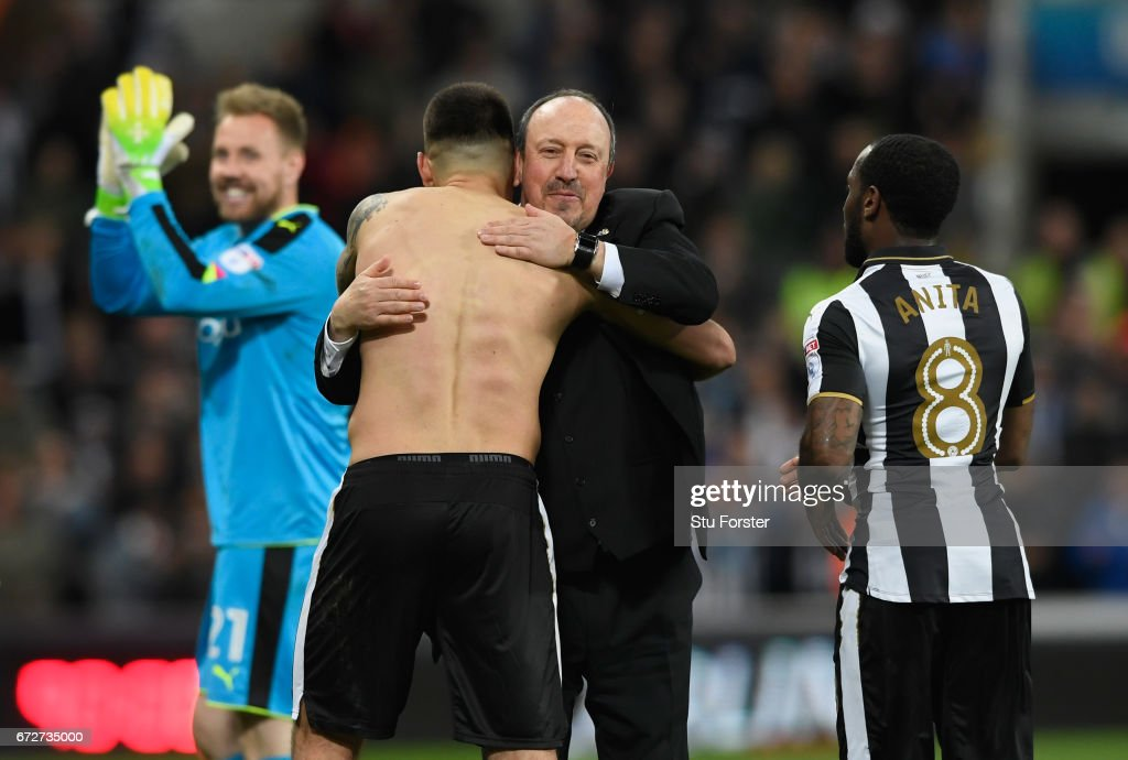 Newcastle manager Rafa Benitez congratulates Aleksandar Mitrovic after the Sky Bet Championship match between Newcastle United and Preston North End at St James' Park on April 24, 2017 in Newcastle upon Tyne, England.
