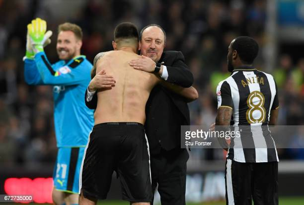 Newcastle manager Rafa Benitez congratulates Aleksandar Mitrovic after the Sky Bet Championship match between Newcastle United and Preston North End...