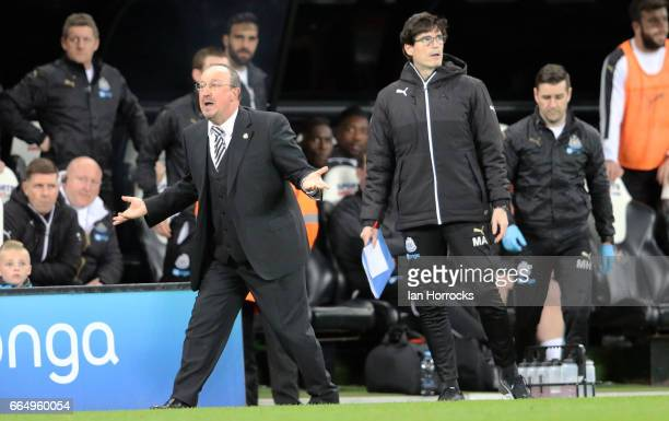 Newcastle manager Rafa Benitez gets involved with the penalty debate during the Sky Bet Championship match between Newcastle United and Burton Albion...