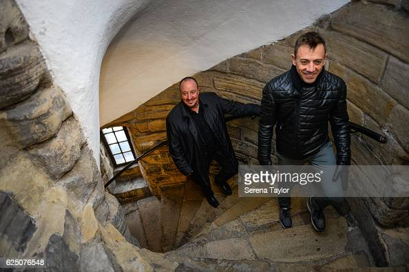 Newcastle Manager Rafael Benitez and Assistant Manager Francisco De Miguel Moreno walk up the many inside steps at the Castle Keep during a visit to...