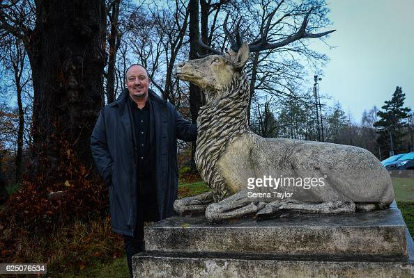 Newcastle Manager Rafael Benitez poses for a photograph of the stag at the Durham University during a visit to landmarks in the North East of England...