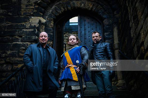 Newcastle Manager Rafael Benitez poses for a photograph with a swordsman and Newcastle United's Assistant Manager Francisco De Miguel Moreno at...