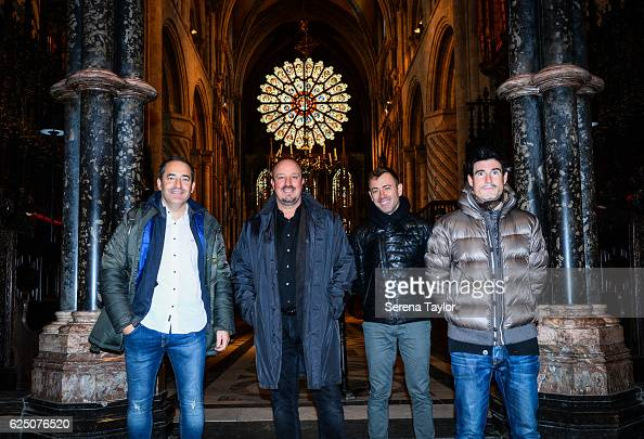 Newcastle Manager Rafael Benitez poses for a photograph with coaching staff Antonio Gomez Perez Francisco de Miguel Moreno and Mikel Antia inside...