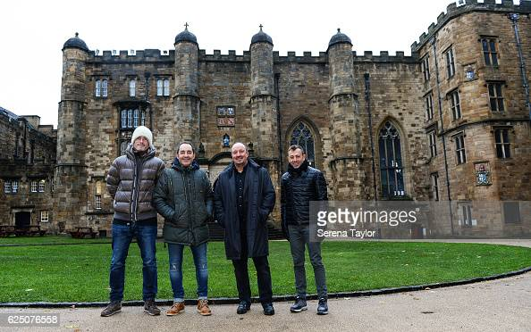 Newcastle Manager Rafael Benitez poses for a photograph with coaching staff Mikel Antia Antonio Gomez Perez and Francisco de Miguel Moreno whilst...