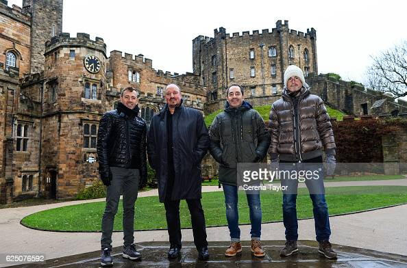 Newcastle Manager Rafael Benitez poses for a photograph with coaching staff Francisco de Miguel Moreno Antonio Gomez Perez and Mikel Antia whilst...