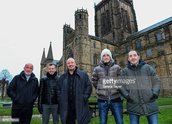 Newcastle Manager Rafael Benitez poses for a photograph with the Governor of Durham University Graham Courney and coaching staff Francisco de Miguel...