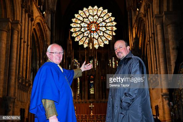 Newcastle Manager Rafael Benitez poses for a photograph with tour guide John Campbell inside Durham Cathedral whilst visiting landmarks in the North...