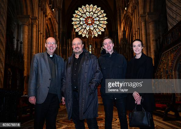 Newcastle Manager Rafael Benitez poses for a photograph with Vice Dean David Kennedy and his children Christopher and Claire inside Durham Cathedral...