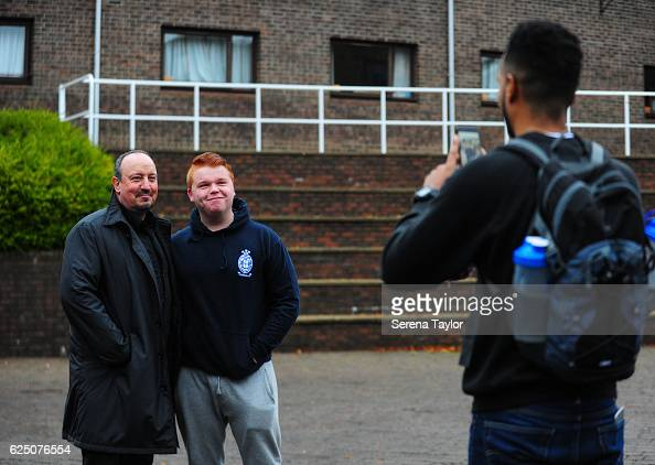 Newcastle Manager Rafael Benitez poses for some photos with the public whilst visiting landmarks in the North East of England on November 22 2016 in...