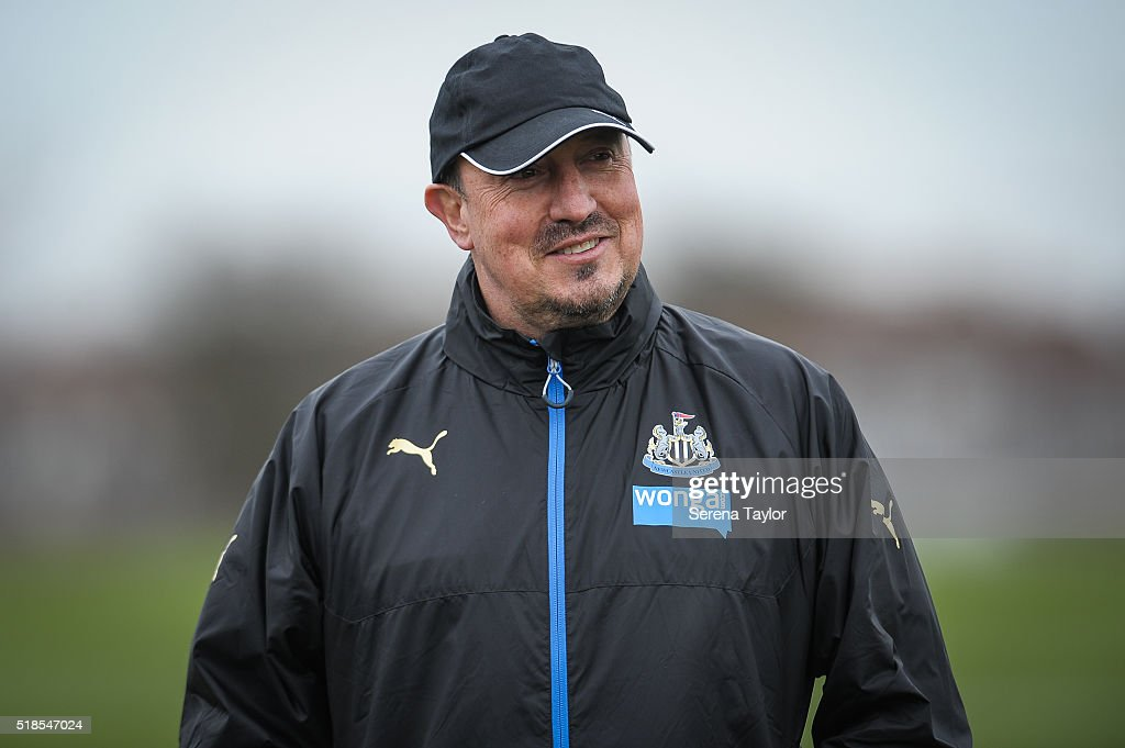 Newcastle Manager Rafael Benitez smiles during the Newcastle United Training session at The Newcastle United Training Centre on April 1, 2016, in Newcastle upon Tyne, England.