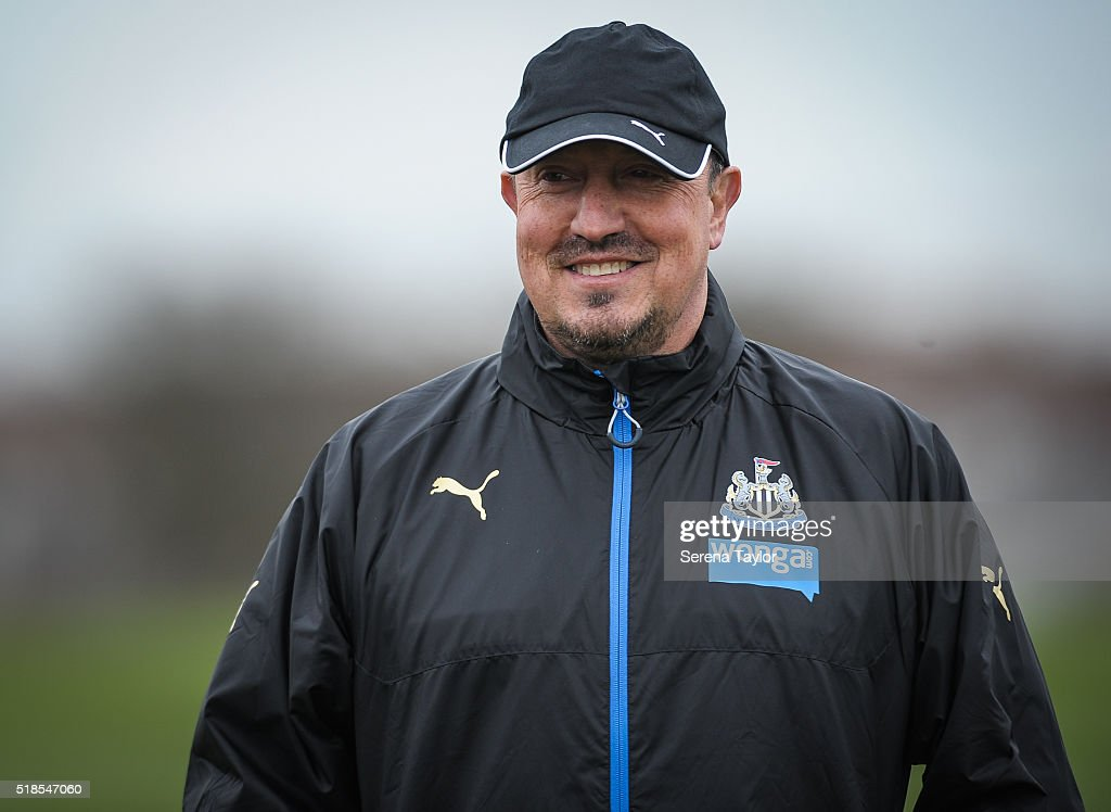 Newcastle Manager Rafael Benitez smiles during the Newcastle United Training session at The Newcastle United Training Centre on April 1, 2016, in Newcastle upon Tyne, England.