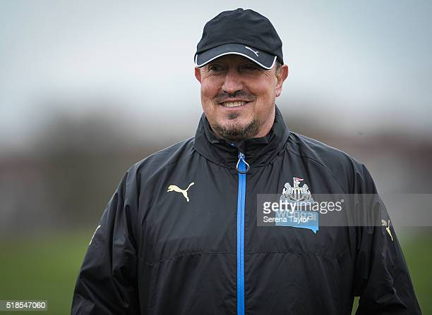 Newcastle Manager Rafael Benitez smiles during the Newcastle United Training session at The Newcastle United Training Centre on April 1 in Newcastle...